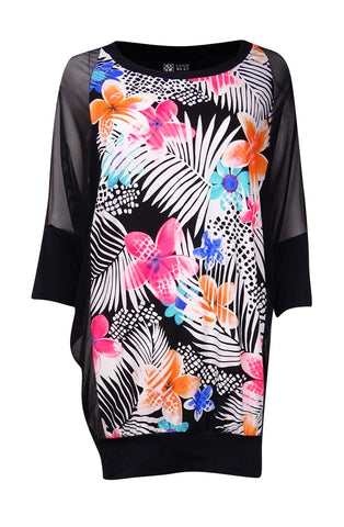 Coco Reef Women's Mesh Sleeve Floral Printed Coverup