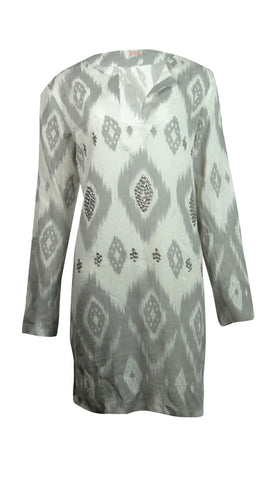 Echo Women's Sequined Ikat Print Cotton Tunic Swim Cover
