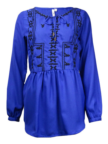 NY Collection Women's Embroidered Peplum Peasant Top