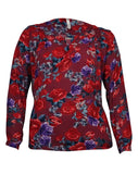NY Collection Women's V-Neck Pleated Rose Print Crepe Top