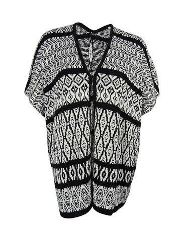 NY Collection Women's Intarsia Knit Poncho Cardigan
