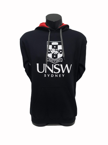 UNSW Two Colour Kanga Hoodie - Black/Red