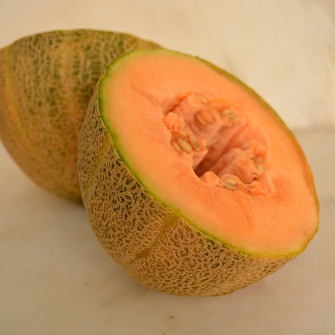 Hale's Best Jumbo Muskmelon sliced with seeds showing