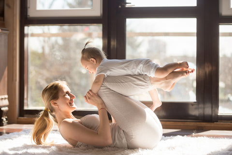 yoga exercise with baby