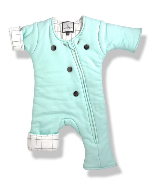 Mint Outer with Grid Inner CribCulture SleepSuit® with SleepCool System™