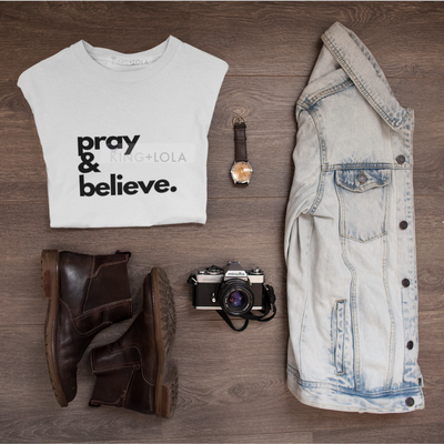 Pray & Believe - Short Sleeve Logo T-Shirt Tank  - Unisex T-shirt - KingandLola