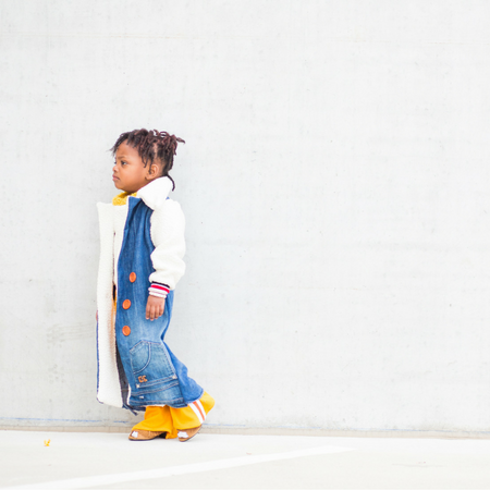 Denim Up-cycled felted fleece Trench Coat for Kids King and Lola