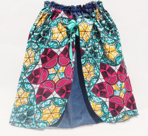 Reversible Denim and Ankara Toddler Wrap Skirt