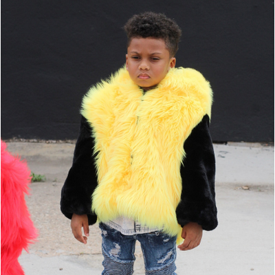 A Black and Yellow Kids Faux Fur Bomber Coat - KingandLola