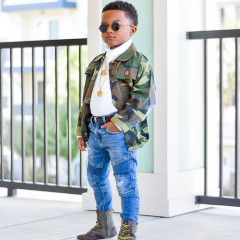 Kids Camouflage Bomber Jacket - Exclusive Stars and Stripes