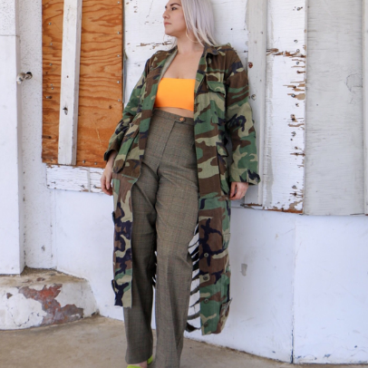 Vintage Adult Trench Camouflage Jacket with or without Distressed Back