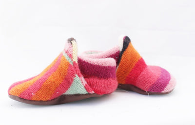 Unisex Upcycled Striped Lambswool Baby Booties - KingandLola