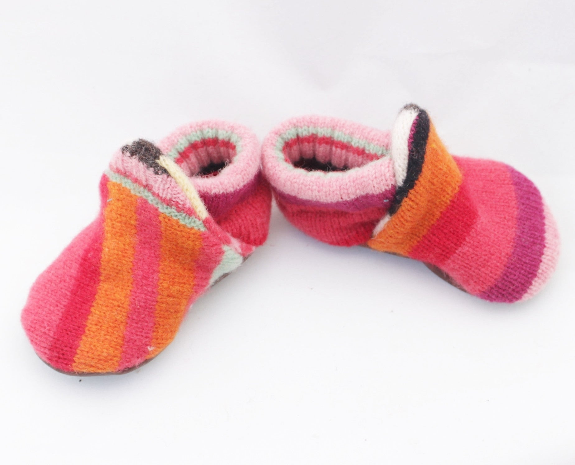 Unisex Upcycled Striped Lambswool Baby Booties