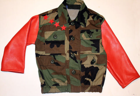 Kids Unisex Camouflage Bomber Jacket Ferrari with Red Leather Sleeves size Toddler 2T to Kids 12