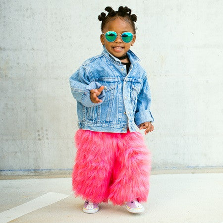 Furry Pink Faux Fur  Wide Leg Pants Toddler Kids  *Limited*