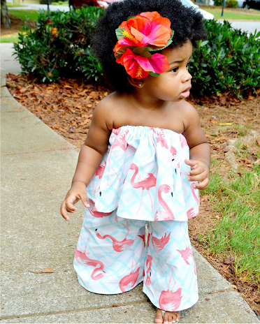 Flamingo Print 2pc outift Poet Shirt and Wide Leg Pants