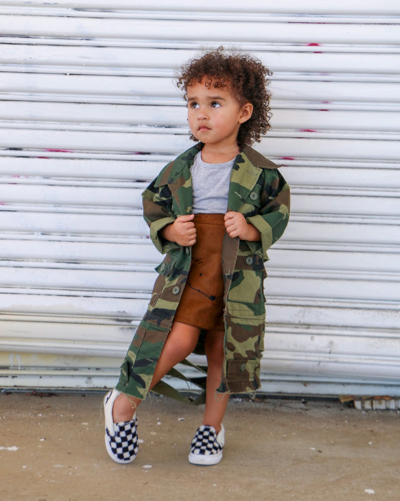 Kids Toddler Trench Camouflage Jacket with Distressed Back