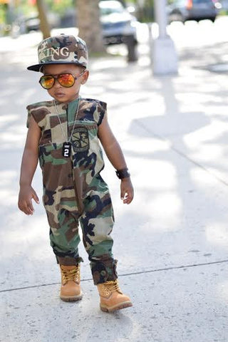 Kids Distressed Camouflage Jumpsuit