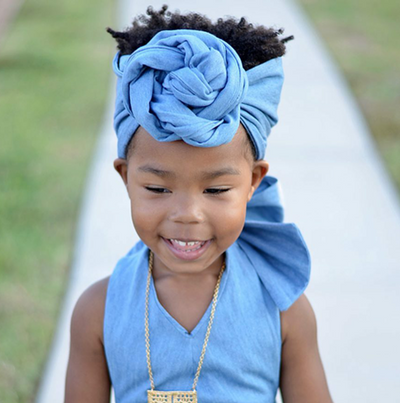Head Wrap Denim - KingandLola