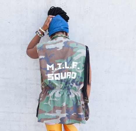 MILF SQUAD Camouflage Camo Woodland Army Vest Small, Medium, Large