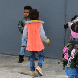 A Orange Kids Faux Fur Trench Coat