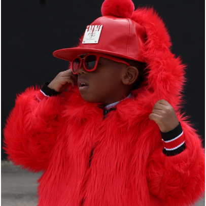 A Red Kids Faux Fur Bomber Coat