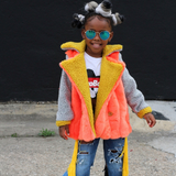Orange Kids Faux Fur Trench Coat