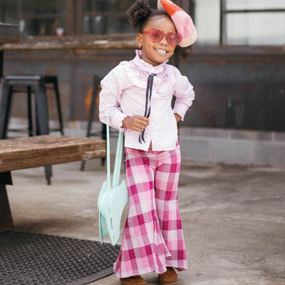 Pink Plaid Bell Bottoms Vintage Inspired Toddlers King and Lola Kids - KingandLola