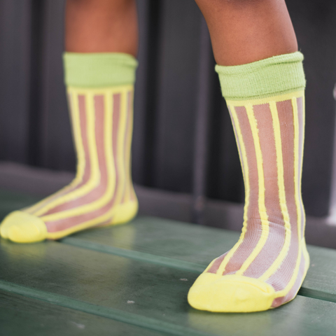 Yellow and Green Colorblock Mesh Socks