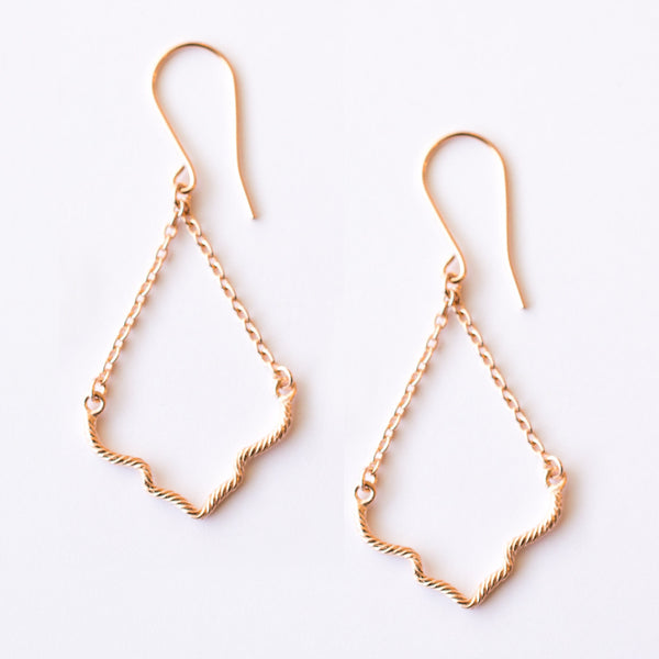 A pair of Rose Gold Plated 925 Sterling Silver Drop Earrings with Ogee shaped hand twisted wire and delicate chain, on a grey background.