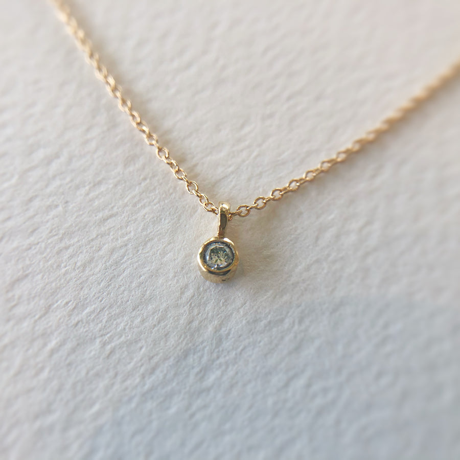 White Diamond Bezel Necklace 14ct Gold