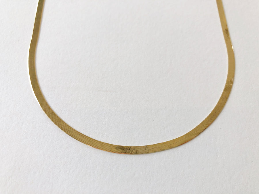 Herringbone Chain Necklace 14ct Gold