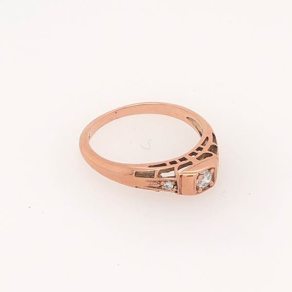Deco Ring Rose Gold with Diamonds