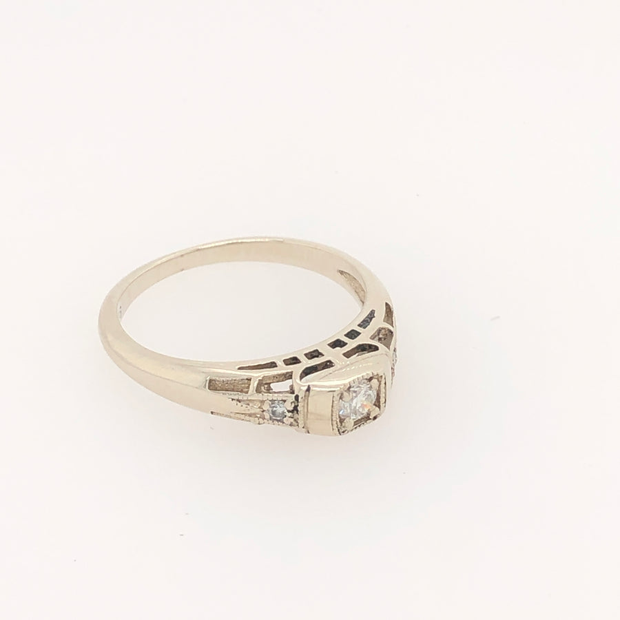 Deco Ring White Gold with Diamonds