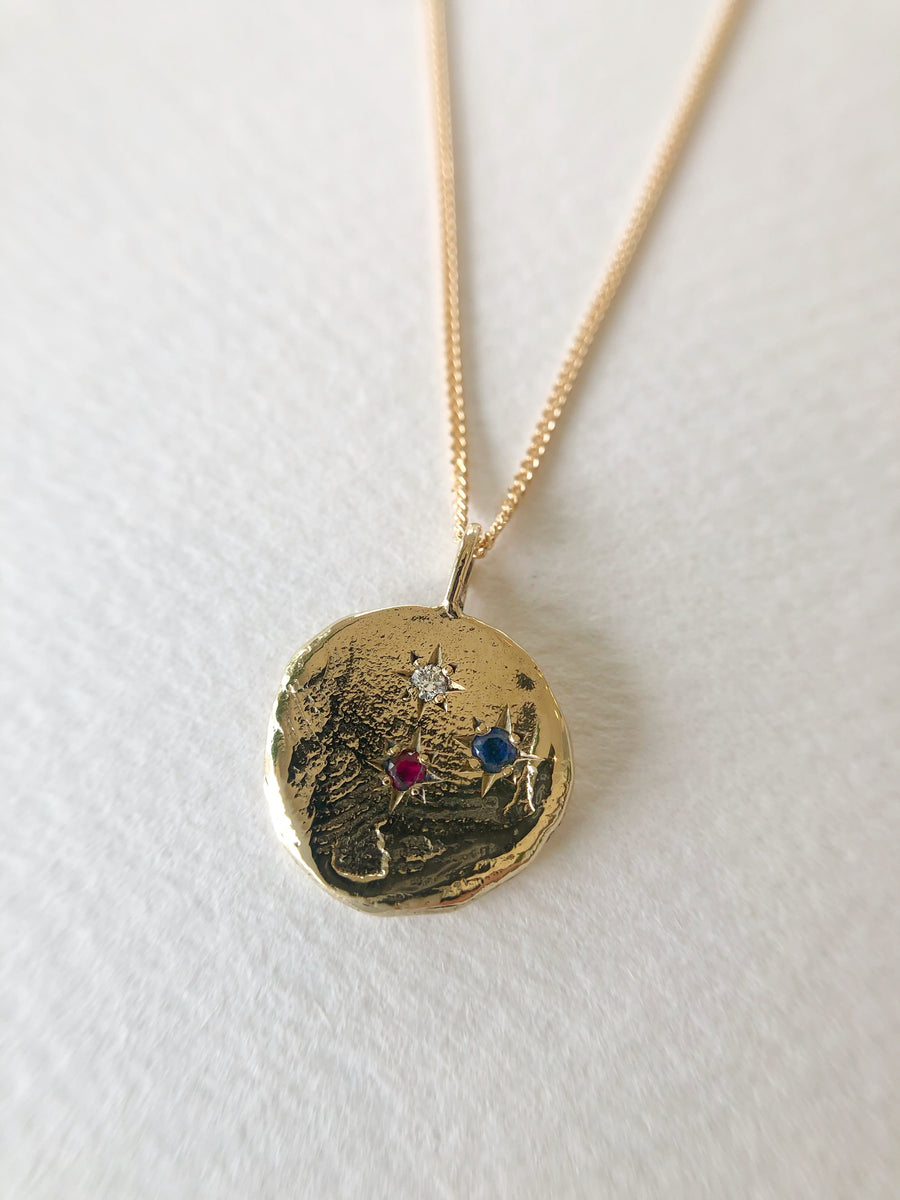 Infinite Currency Necklace 9ct Gold with Diamond, Ruby, Ceylon Sapphire