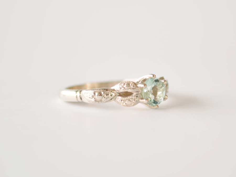 Mary-Anne Ring White Gold with Aquamarine