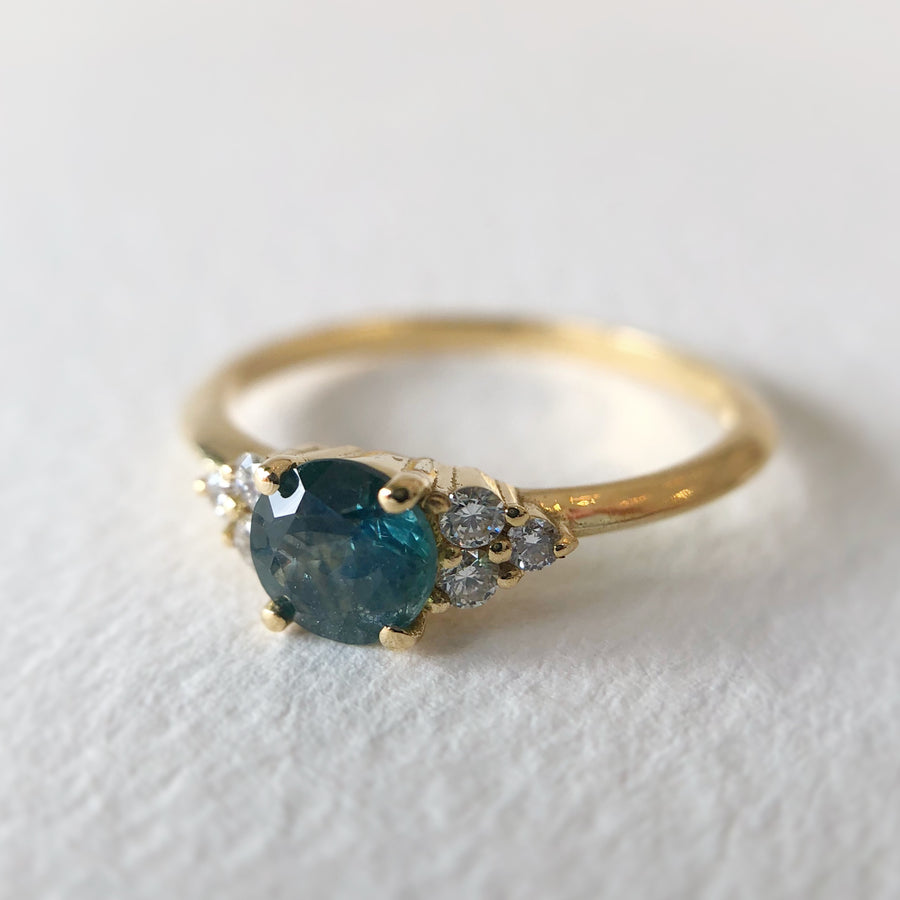 Petite Juliet Ring Montana Sapphire w Diamonds in Yellow Gold