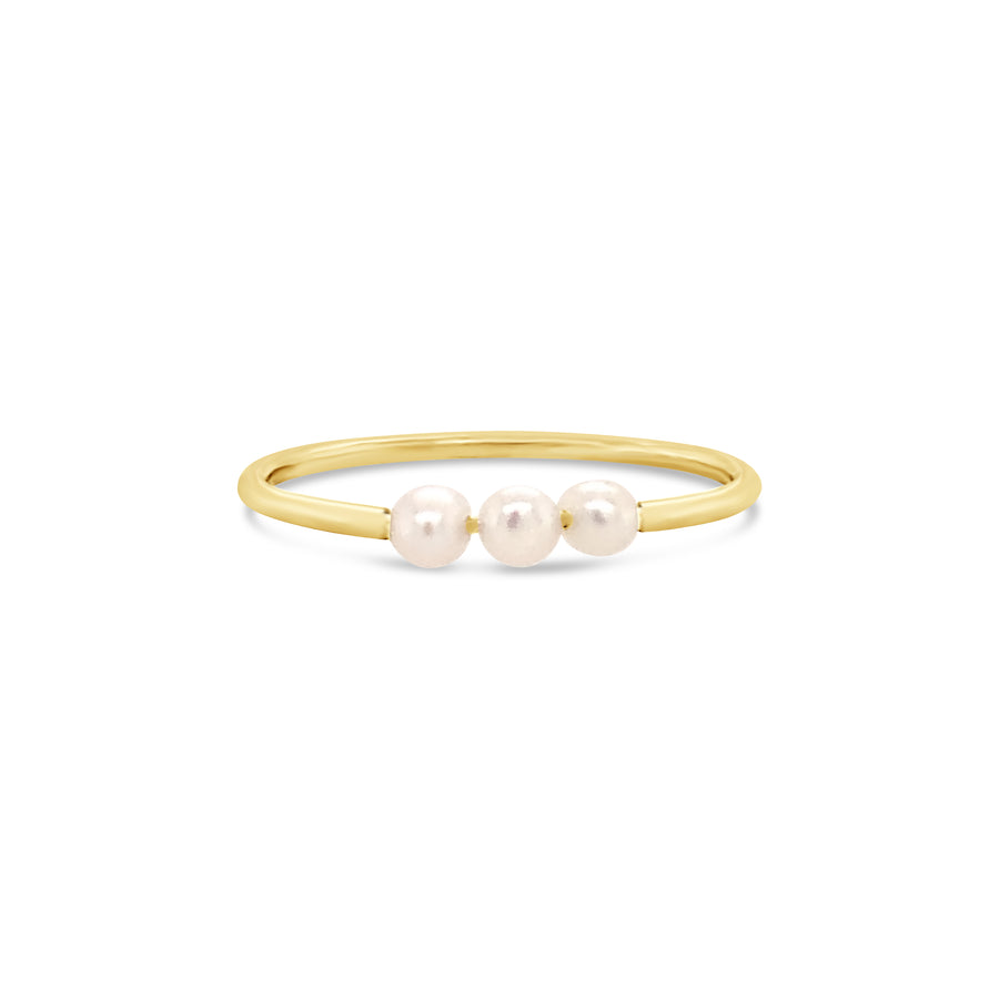 Three Pearl Ring Yellow Gold
