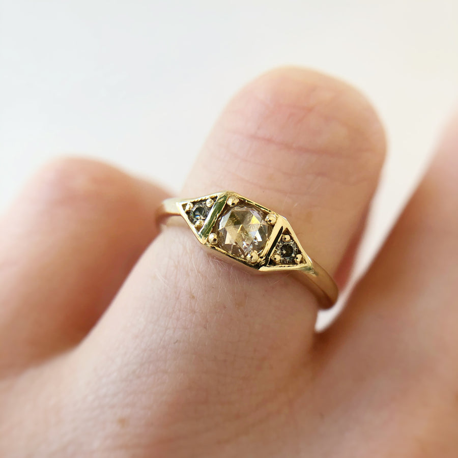 Genevieve Ring with Champagne Diamonds in 9ct Gold