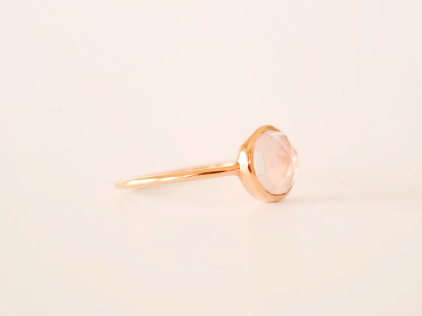 Dana Ring Yellow Gold with Rose Quartz
