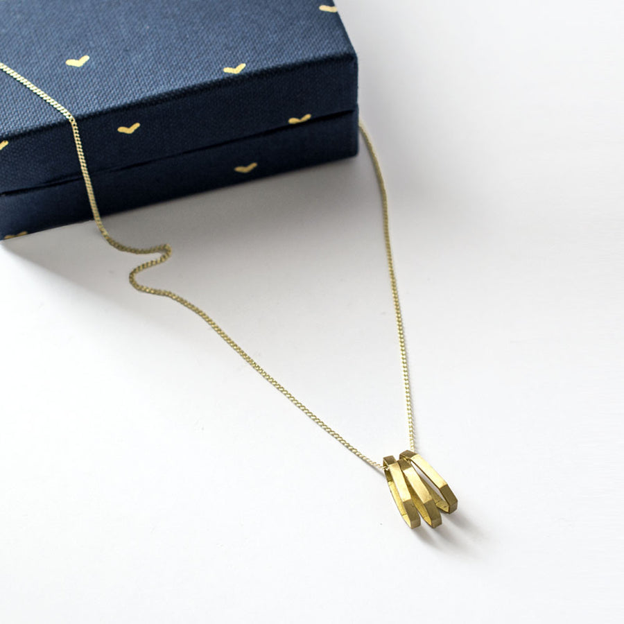 Elongated Hex Necklace - Brass