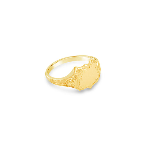 Shield Shaped Signet Ring 9ct Yellow Gold Vintage Inspired