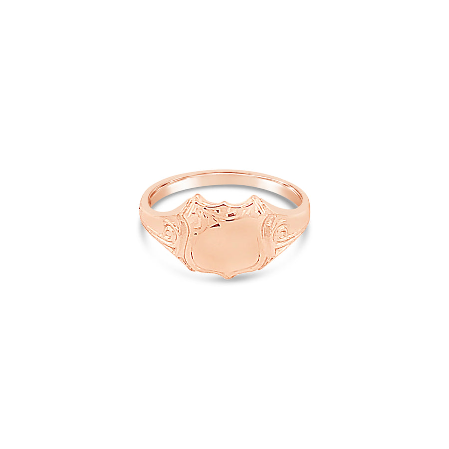 Shield Shaped Signet Ring 9ct Rose Gold Vintage Inspired