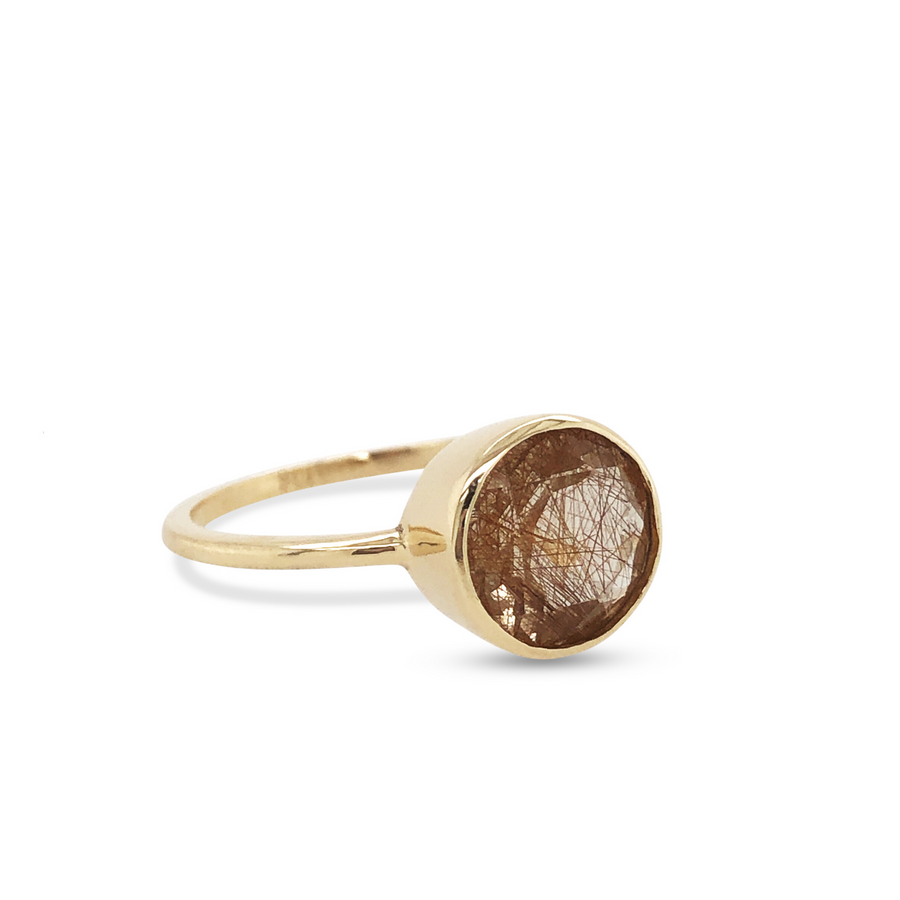 Billie Ring Yellow Gold with Rutilated Quartz