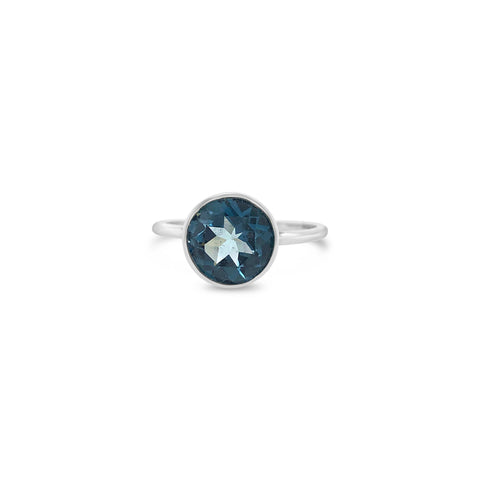 Billie Ring London White Gold with London Blue Topaz