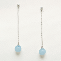 Sphere Drop Earrings - Blue Lace Agate
