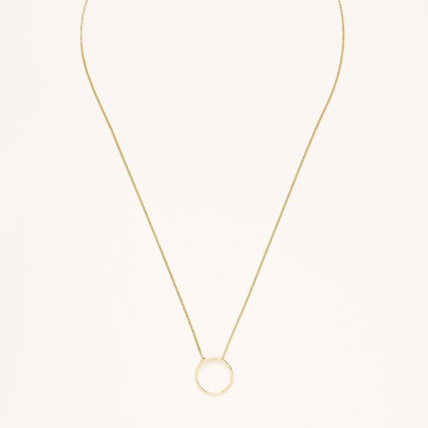 A Gold Plated 925 Sterling Silver Necklace with Hammered Circle Charm