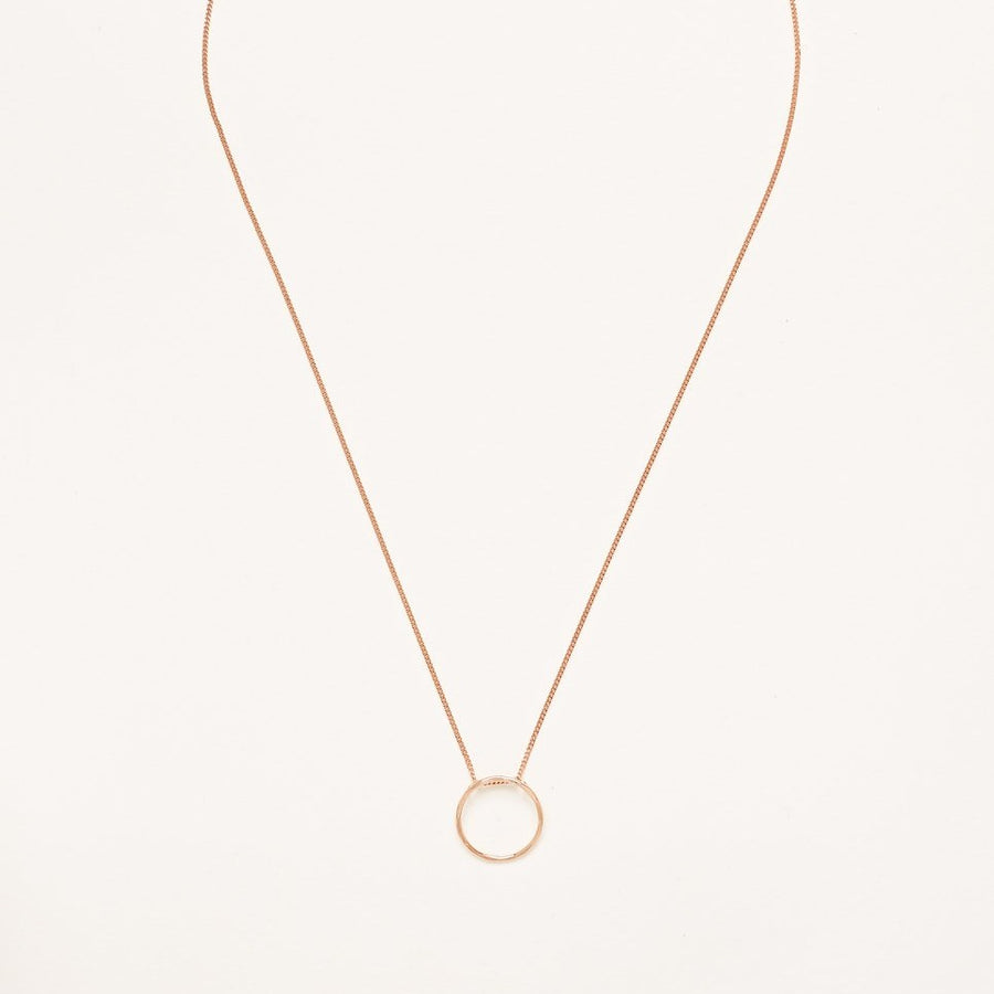 A Rose Gold Plated 925 Sterling Silver Necklace with Hammered Circle Charm