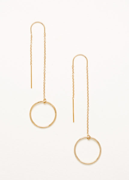 A pair of Gold Plated 925 Sterling Silver Thread Earrings with Circle Charms