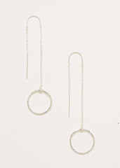 A pair of 925 Sterling Silver Thread Earrings with Circle Charms